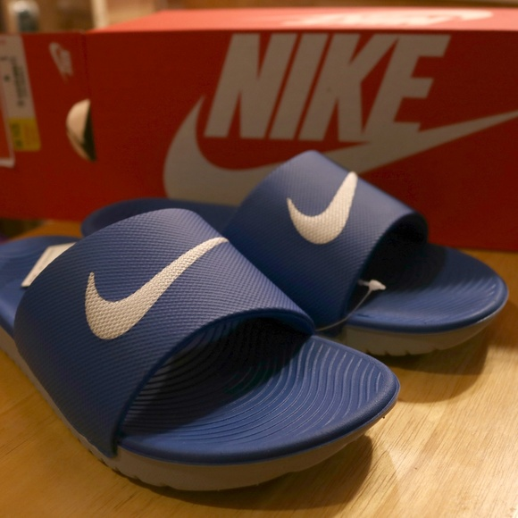 31ade3aa94ea13 Nike Kawa Slide Hyper Cobalt   White Youth Shoes